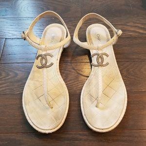 Chanel Thong Sandals Sz 39.5